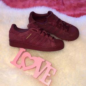 Adidas Superstar burgundy suede Big Girls 4